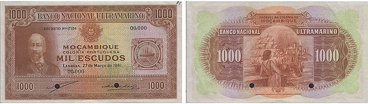 Paper Money - Mozambique 1000$00 1941, ESPÉCIME
