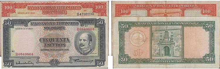 Paper Money - Mozambique 50$00, 100$00 1958