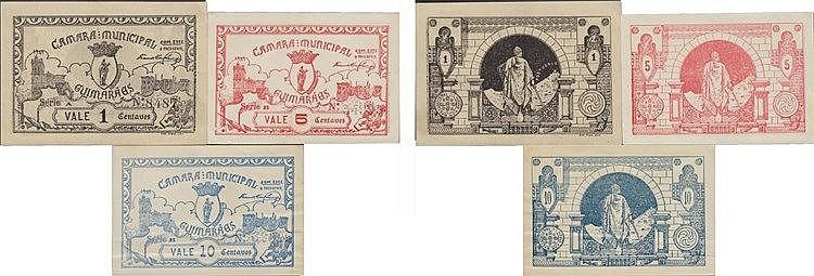 Cédula - Guimarães 3 expl. 1, 5, 10 Centavos 1921