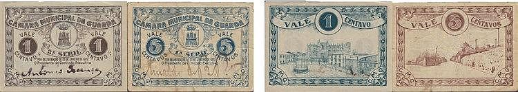 Cédula - Guarda 2 expl. 1, 5 Centavos 1922