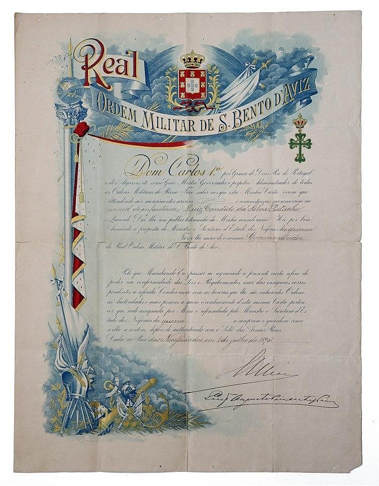 Documento - Diploma de medalha Ordem de Aviz 1895