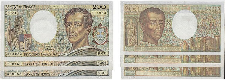 Paper Money - France 3 expl. 200 Francs 1981-1987