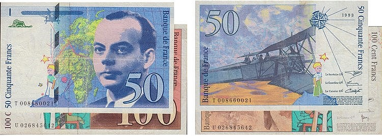 Paper Money - France 2 expl. 50, 100 Francs 1993-1997