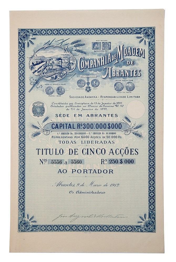 Título de Acção - 250$00 1912, RARO