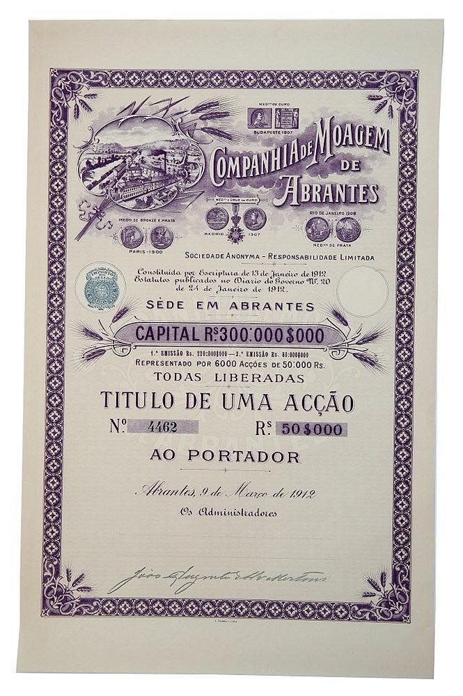 Título de Acção - 50$000 1912, RARO
