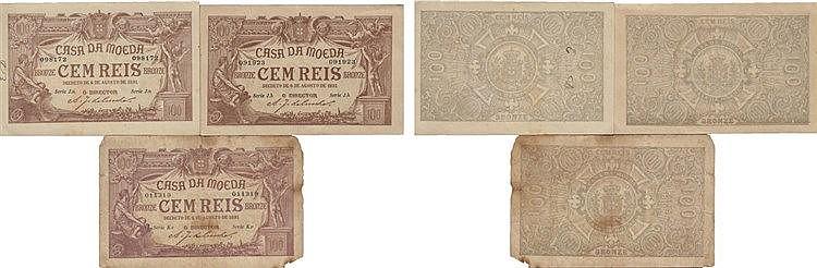 Cédula - Casa da Moeda 3 expl. 100 Reis 1891