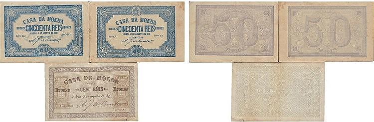 Cédula - Casa da Moeda 3 expl. 50, 100 Réis 1891