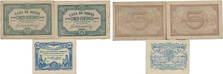Cédula - Casa da Moeda 3 expl. 5, 10 Centavos 1918 - N/D
