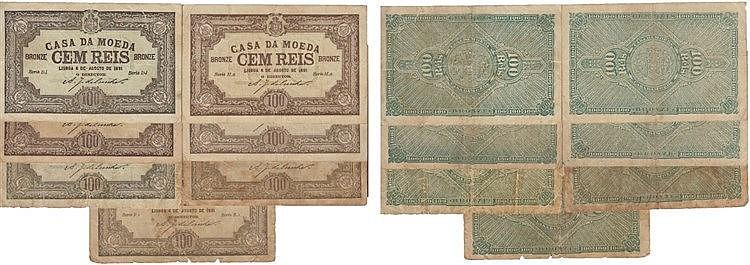 Cédula - Casa da Moeda 7 expl. 100 Reis 1891