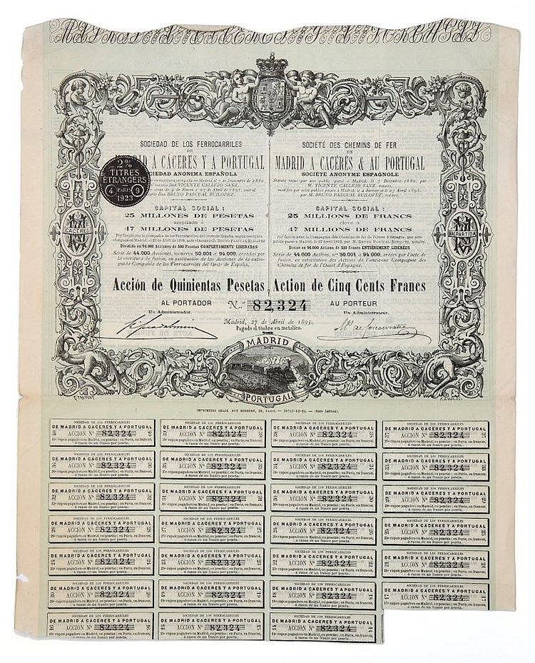 Título de Acção - 500 Pesetas 1895