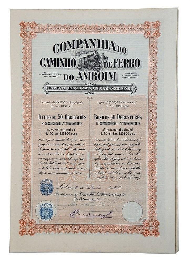 Título de Obrigação - 225$00 ouro 1927, RARO