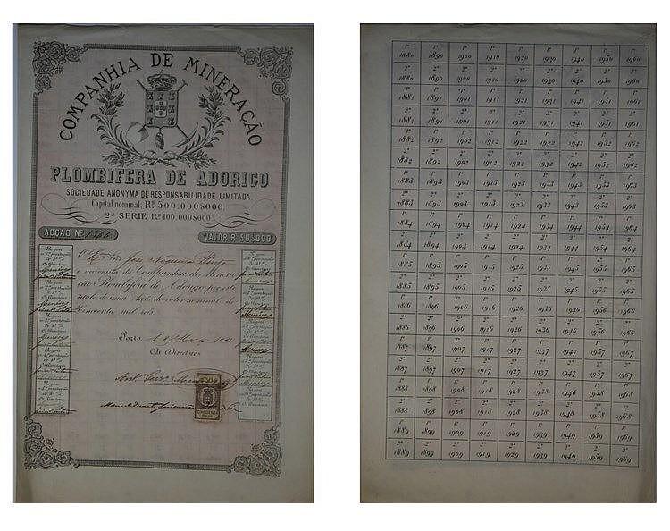 Título de Acção - 50$000 1880