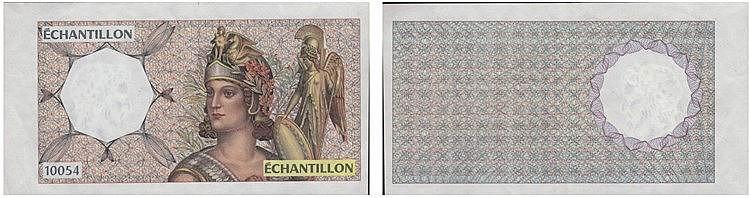 Paper Money - France - Échantillon, Prova