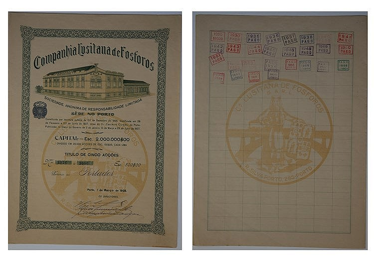 Título de Acção - 500$00 1928