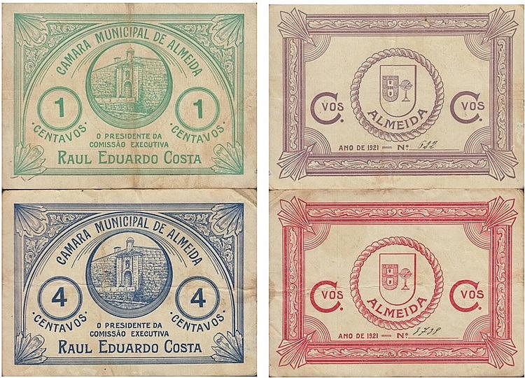 Cédula - Almeida 2 expl. 1, 4 Centavos 1921