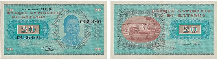 Paper Money - Katanga 20 Francs 1960
