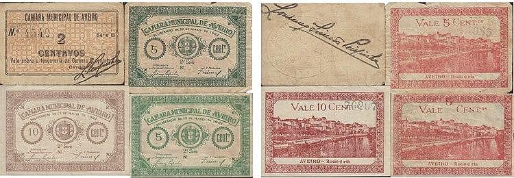 Cédula - Aveiro 4 expl. 2, 5, 10 Centavos N/D-1921