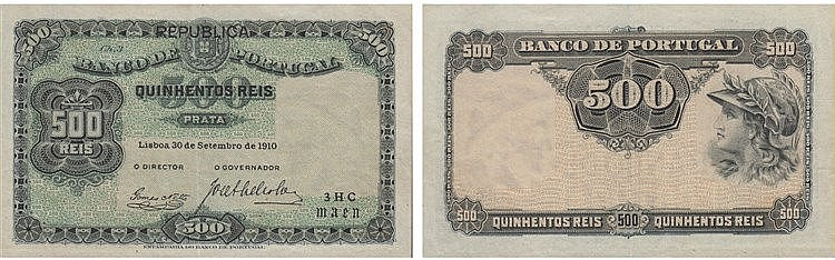 Paper Money - Portugal - 500 Réis ch. 3 1910