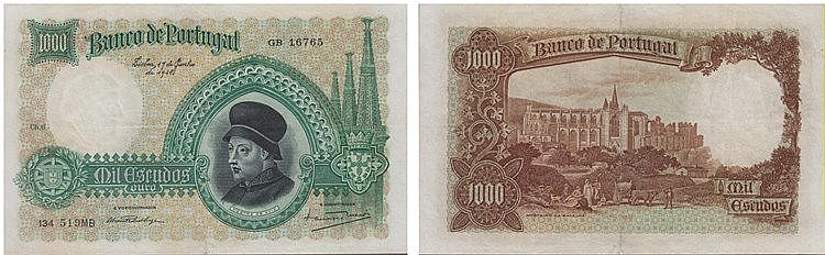 Paper Money - Portugal 1000$00 ch. 6 1938