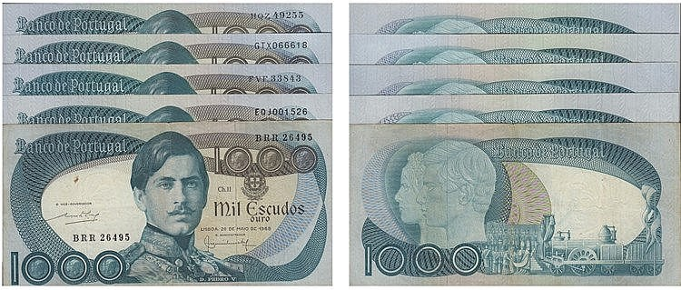 Paper Money - Portugal - 5 expl. 1000$00 ch. 11 1968-1982