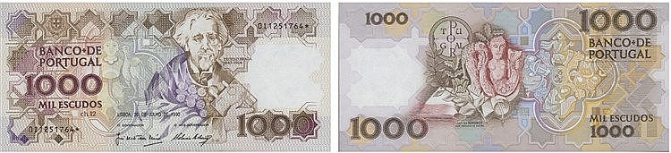 Paper Money - Portugal - 1000$00 ch. 12 1990, Substituição