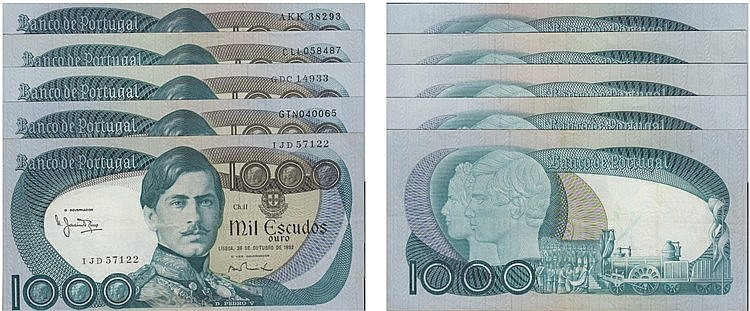 Paper Money - Portugal 5 specimens 1000$00 ch. 11 1968-1982