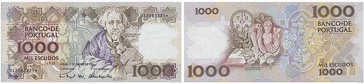Paper Money - Portugal - 1000$00 ch. 12 1994, Substituição