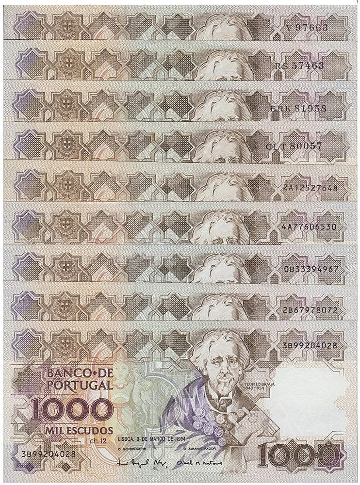 Paper Money - Portugal 9 specimens 1000$00 ch. 12 1983-1994