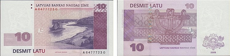 Paper Money - Latvia 10 Lati 2008