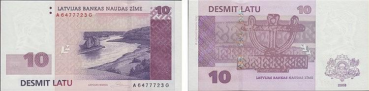 Paper Money - Latvia 10 Lati 2008