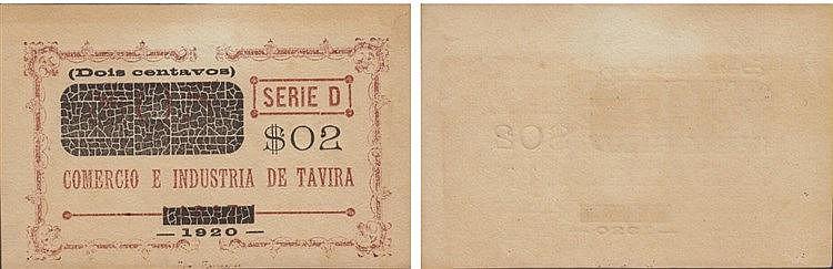 Cédula - Tavira 2 Centavos 1920