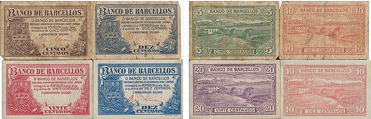 Cédula - Barcelos 4 expl. 5, 10, 20 Centavos N/D
