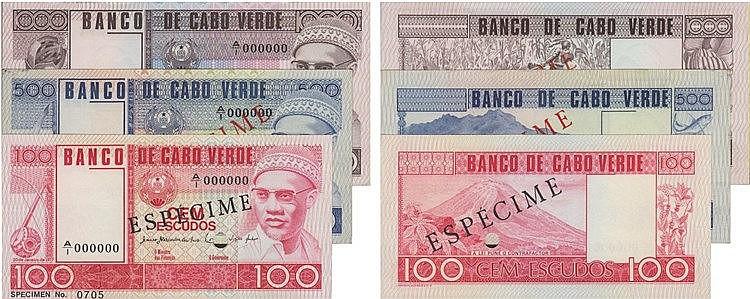 Paper Money - Cape Verde 3 bank notes 100$00/500$00/1000$00 1977 ESPÉCIMES