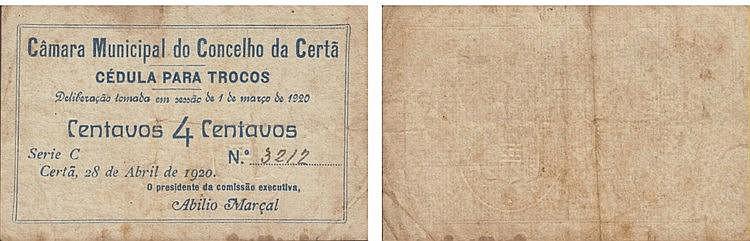 Cédula - Certã 4 Centavos 1920