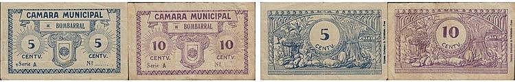 Cédula - Bombarral 2 expl. 5, 10 Centavos N/D