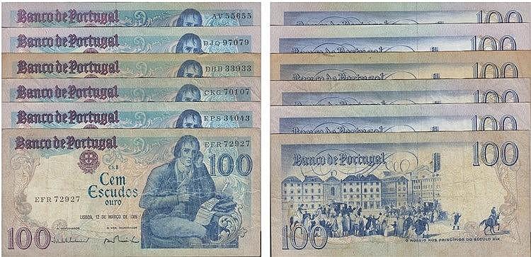 Paper Money - Portugal - 6 expl. 100$00 ch. 8 1980-1985, Capicuas
