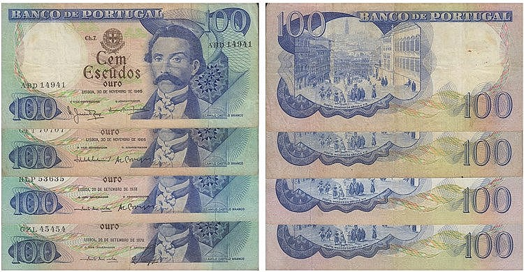 Paper Money - Portugal - 4 expl. 100$00 ch. 7 1965-1978, Radial Number