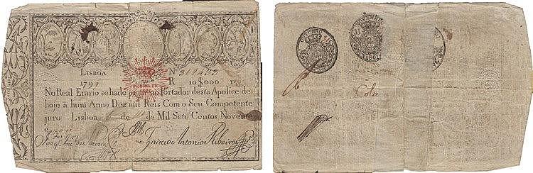 Paper Money - Apólice do Real Erário - 10$000 Réis 1799