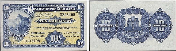 Paper Money  - Gibraltar 10 Schillings 1958