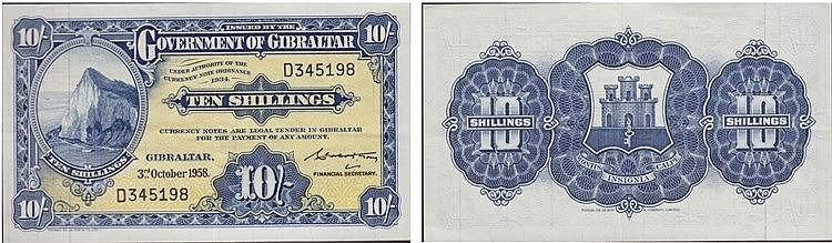 Paper Money - Gibraltar 10 Schillings 1958