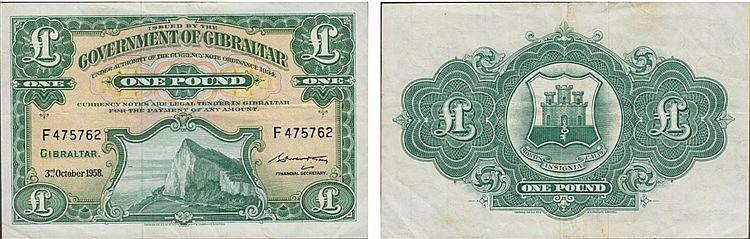 Paper Money - Gibraltar 1 Pound 1958