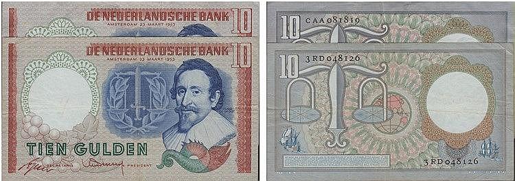 Paper Money - Nederland 2 expl. 10 Gulden 1953
