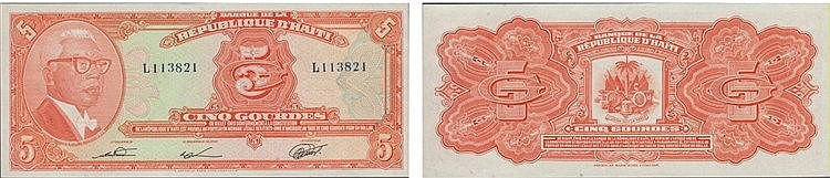 Paper Money - Haiti 5 Gourdes 1919