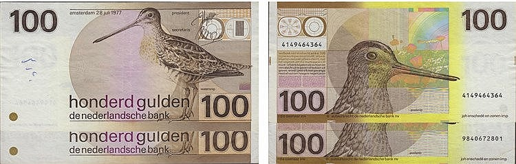 Paper Money - Nederland 2 expl. 100 Gulden 1917