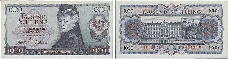 Paper Money - Áustria 1000 Schilling 1966