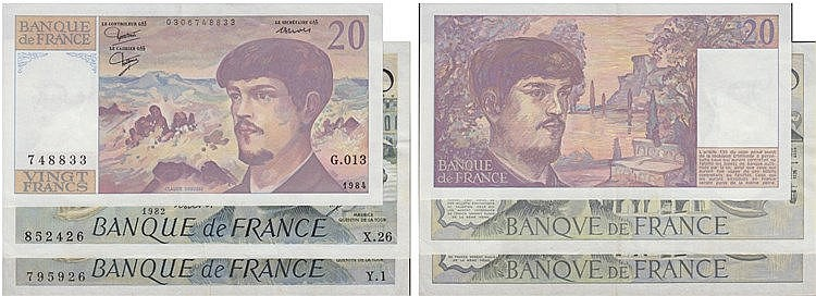 Paper Money - France 3 expl. 20, 50 Francs 1976-1984