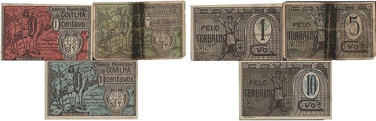 Cédula - Covilhã 3 expl. 1, 5, 10 Centavos N/D