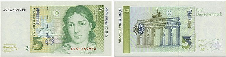 Paper Money - Germany 5 Deutsche Mark 1991