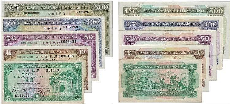 Paper Money - Macau 5 expl. 5, 10, 50, 100, 500 Patacas 1981