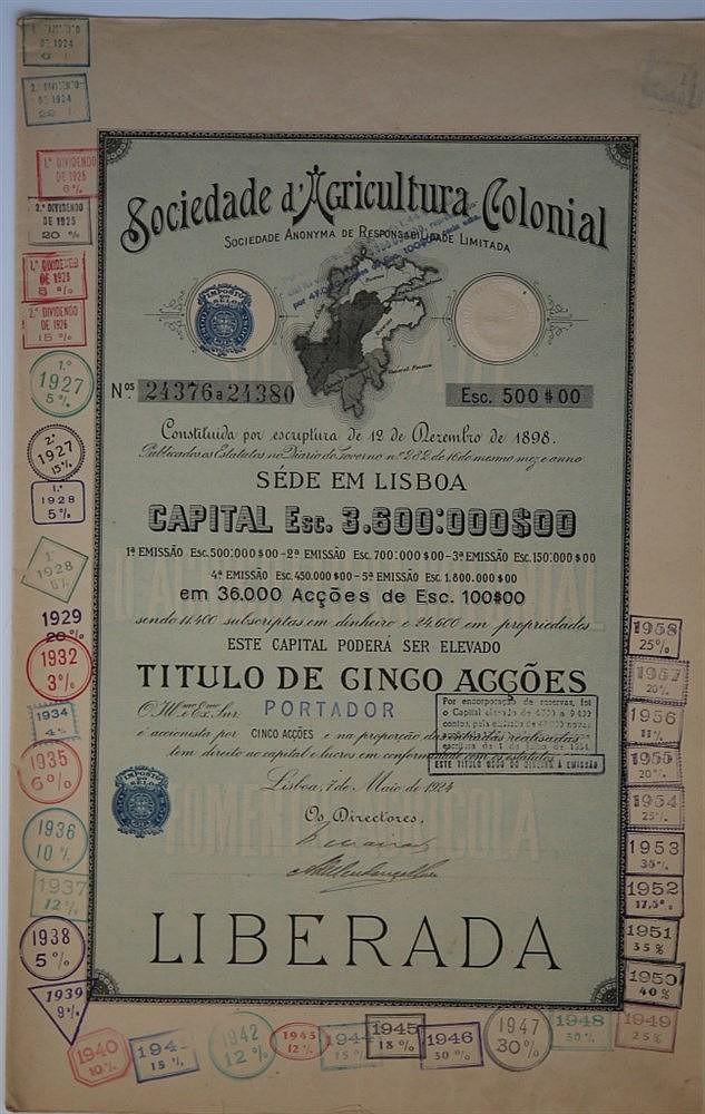 Título de Acção - 500$00 1924